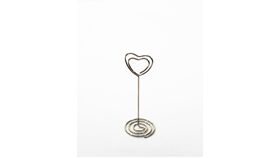"Image of a Table Number Holder - 3.25"" Heart Shaped Silver Scroll"