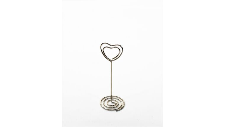 """Picture of a Table Number Holder - 3.25"""" Heart Shaped Silver Scroll"""