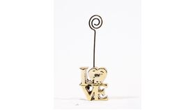 "Image of a Table Number Holder - 3"" Gold Love"