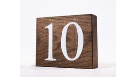 "Image of a Table Number - 5"" Large Light Stained Wood Block White Numbers"