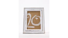 "Image of a Table Number - 6.5"" x 5"" Rustic Whitewashed Frame with Burlap Numbers"