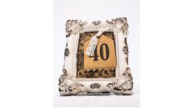 Image of a Table Number - 8x10 Vintage Antique Cream w/Flowered Burlap & Lace