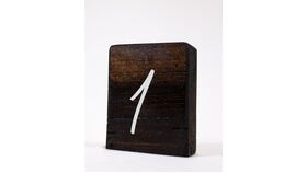 "Image of a Table Number - 4"" Dark Stained Chunky Wood Block w/White Numbers"