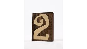 Image of a Table Number - Dark Wood w/Whimsical Champagne Numbers