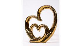 Image of a Gold Heart Inside a Heart Sculpture
