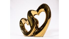 Image of a Tall Chunky Hearts - Metal Sculpture