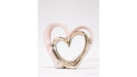 Image of a Blush & Gold Heart Sculpture