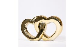 Image of a Gold Double Conjoined Heart Sculpture