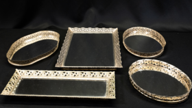 Image of a Antique Gold Mirror Tray - Assorted Sizes