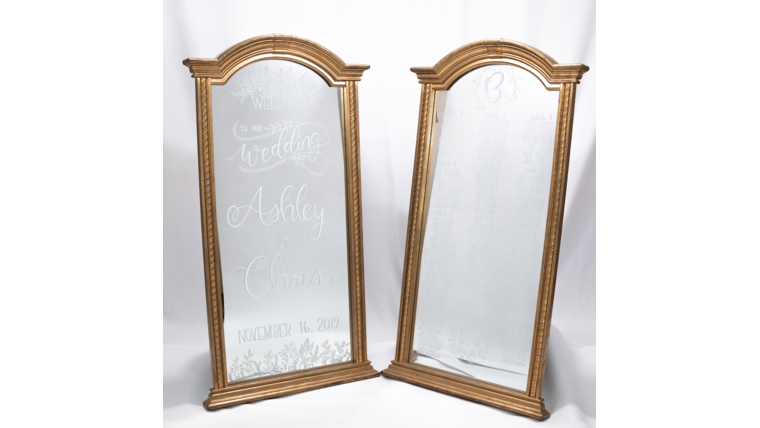 Picture of a Large Arch Gold Framed Mirror