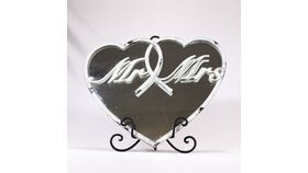Image of a Distressed White Mr & Mrs Heart Mirror