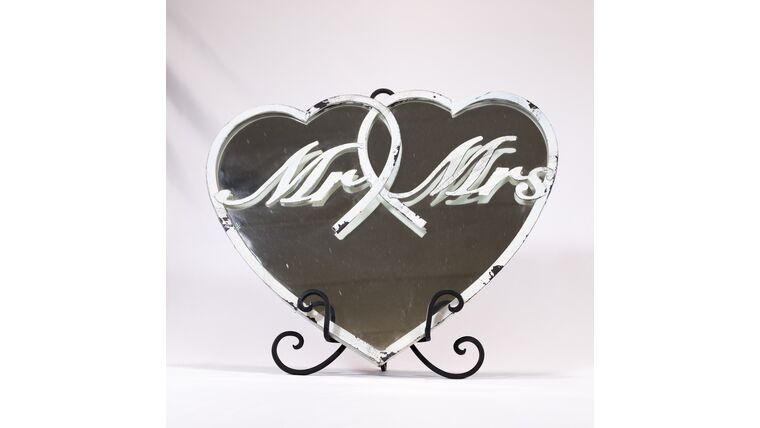 Picture of a Distressed White Mr & Mrs Heart Mirror