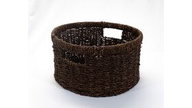 Image of a Round Brown Wicker Basket