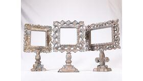 Image of a Ornate Silver Pedestal Frame #2 - Fleur de Lis Base