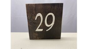 """Image of a Table Number - Dark Stained - Ivory Number 5.5""""x6"""""""