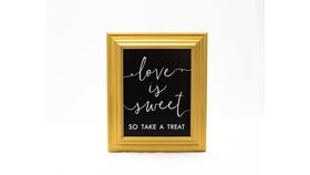 "Image of a ""Love is Sweet...."" Sign -  Gold Frame/Black Matte"