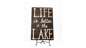 "Image of a ""Life is Better at the Lake"" Sign - Dark Wood"