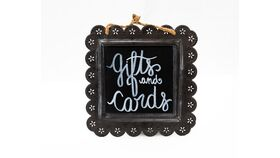 "Image of a ""Gifts and Cards"" Hanging Tin Chalkboard Sign"