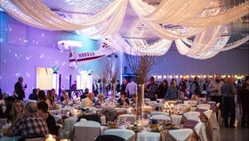 Image of a 6 Leg White Voile Lighted Ceiling Treatment (20' Legs)