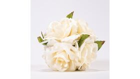 """Image of a 6"""" Hanging Pew Rose Ball - Ivory with Ribbon"""