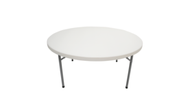 Image of a 60 Inch White Round Folding Table