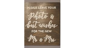 "Image of a Signage - Wooden - ""Leave Your Photo for the Mr. and Mrs."""