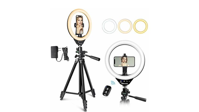 """Picture of a 10"""" LED Ring Light & Stand"""