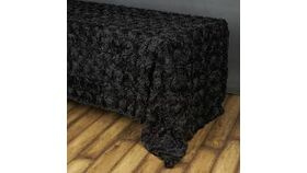 "Image of a Black 90"" x 156"" Rosette Shantung Silk Rectangle Tablecloths"