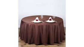 """Image of a Brown 108"""" Round Tablecloths"""