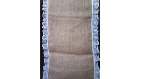 "Image of a Burlap w/1"" Lace edging Runners"
