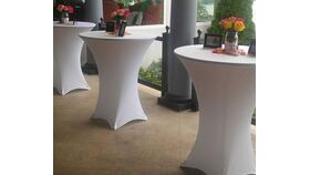 "Image of a White Spandex 32"" x 43"" Cocktail Table Fitted Skirts"