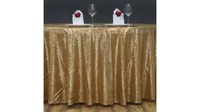 """Image of a Gold Sequin 108"""" Round Tablecloths"""