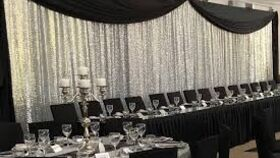 "Image of a Black Linen 48"" x 84"" Etched Curtains"