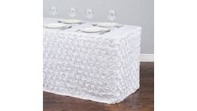 "Image of a White Satin Rosette 12' L x 32"" H Table Skirt"