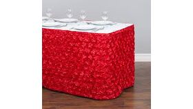 "Image of a Red Satin Rosette 14'L x 32"" H Table Skirt"
