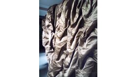 Image of a Brown Matte Satin Ruffled 19' L  x  3' H