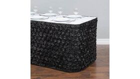 "Image of a Black Satin Rosette 12' L x 30"" H Table Skirt"