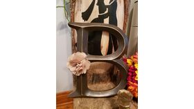 "Image of a Brown Wooden Letter ""B"" w/Burlap Rose"