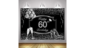 Image of a 60th Birthday Backdrop 5ft x 7ft