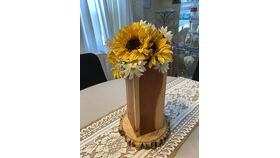 "Image of a 9"" Wood Centerpiece w/Daisies/Wood Slab"