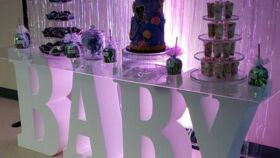 "Image of a 30"" White Letters w/Oblong Clear Glass Top Cake Display ""BABY"""