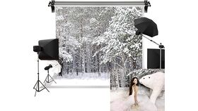 Image of a Soft Cloth 5'W x 8'H Christmas Snow Backdrop