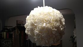 Image of a Ivory Felt Rose Kissing Ball