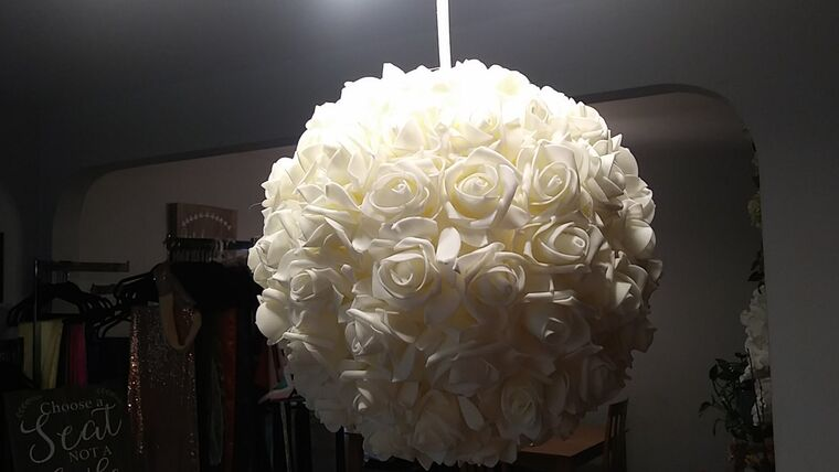 Picture of a Ivory Felt Rose Kissing Ball