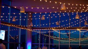 "Image of a 100' White Bistro String Globe Lights - 12"" Apart"