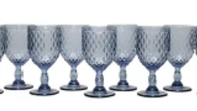 Image of a Dusky Blue Diamond Pattern Goblet