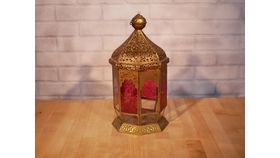 Image of a Gold Moroccan Lantern with Pink Glass