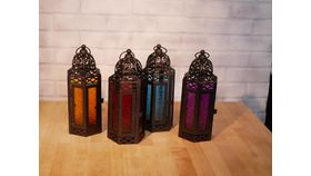 Image of a Large Multicolored Glass Moroccan Lantern