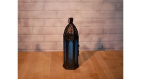 Image of a Blue Glass Moroccan Lantern