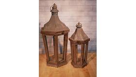 Image of a Large Pottery Barn Wood Lantern